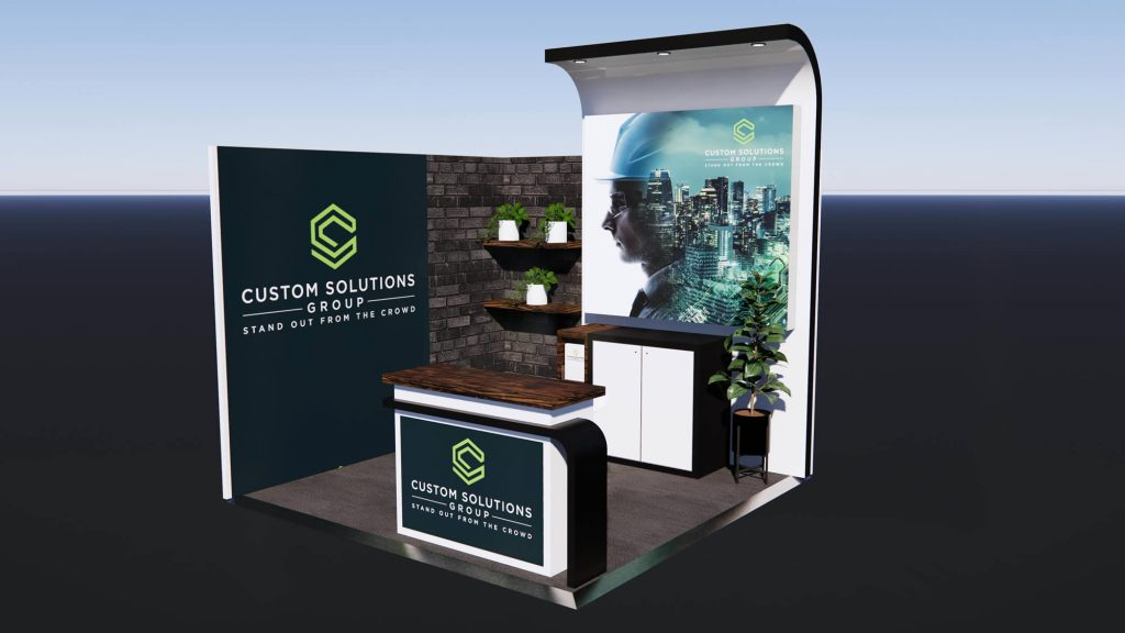 Custom exhibition stand package with inner urban finishes and custom reception counter.