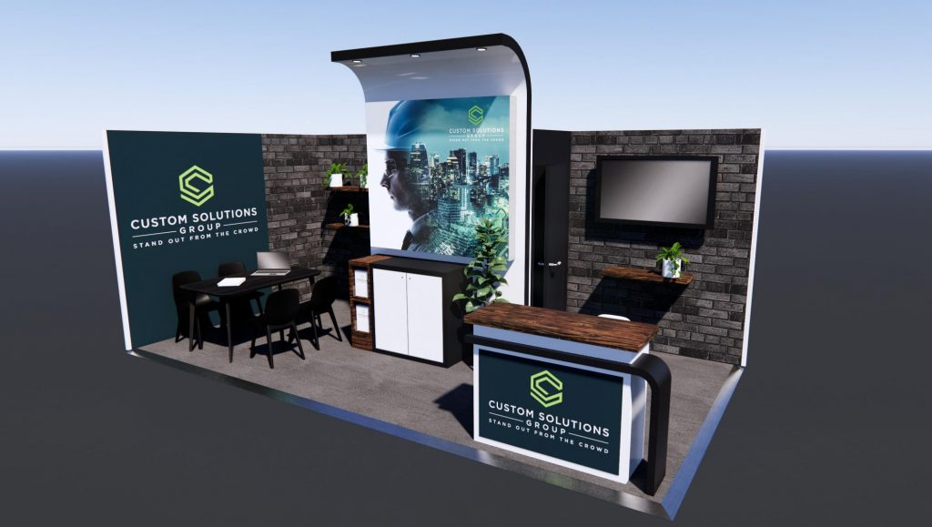 Custom exhibition stand package with inner urban finishes, meeting area and custom reception counter.