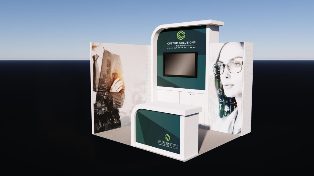 Corner Exhibition stand package with modern finishes and branded reception counter.