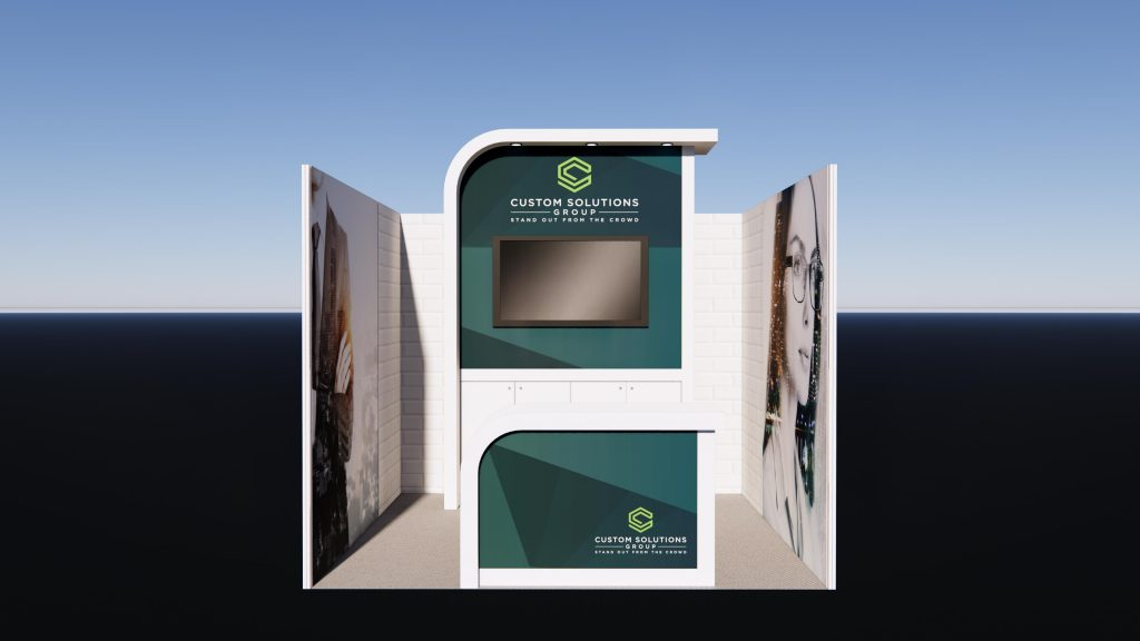 Inline Exhibition stand package with modern finishes and branded reception counter.