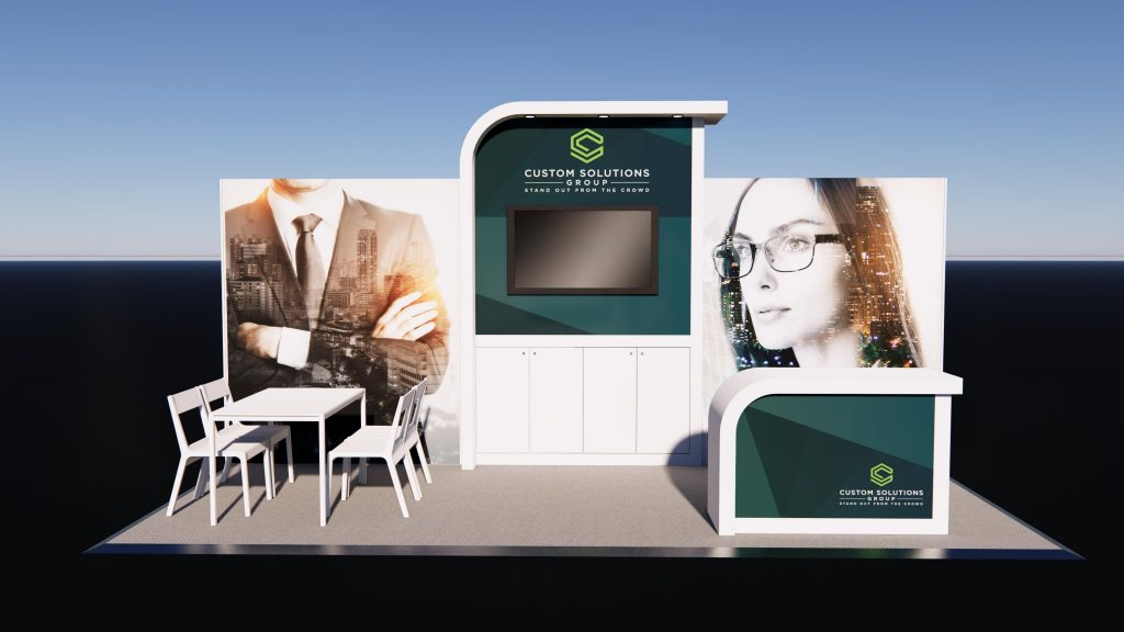 Peninsula Exhibition stand package with modern finishes, seating area and branded reception counter.