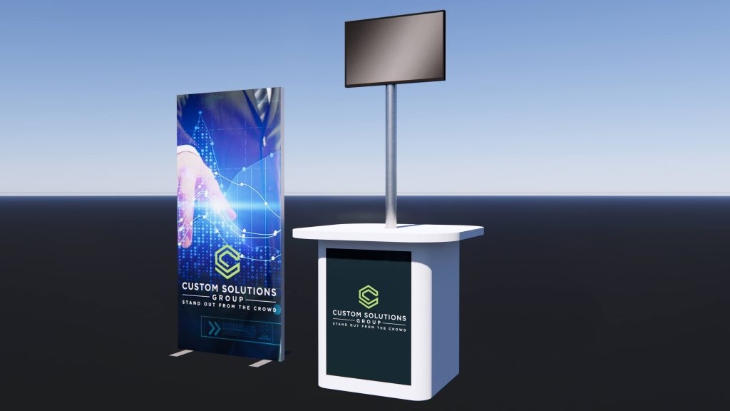 Pop up exhibition stand with backlit graphic panel, branded counter and TV screen in modern finishes.