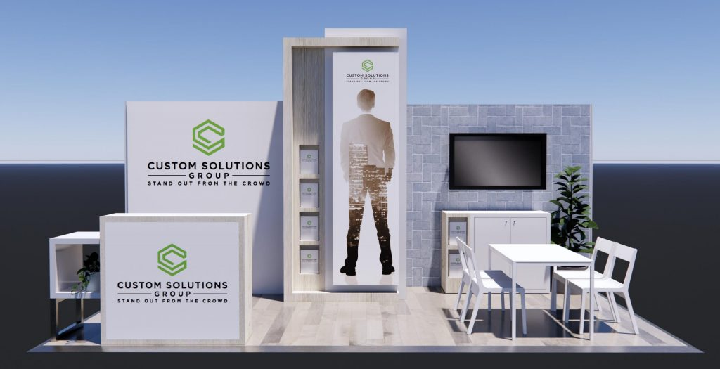 Peninsula Exhibition stand package with natural finishes, seating area and branded reception counter.