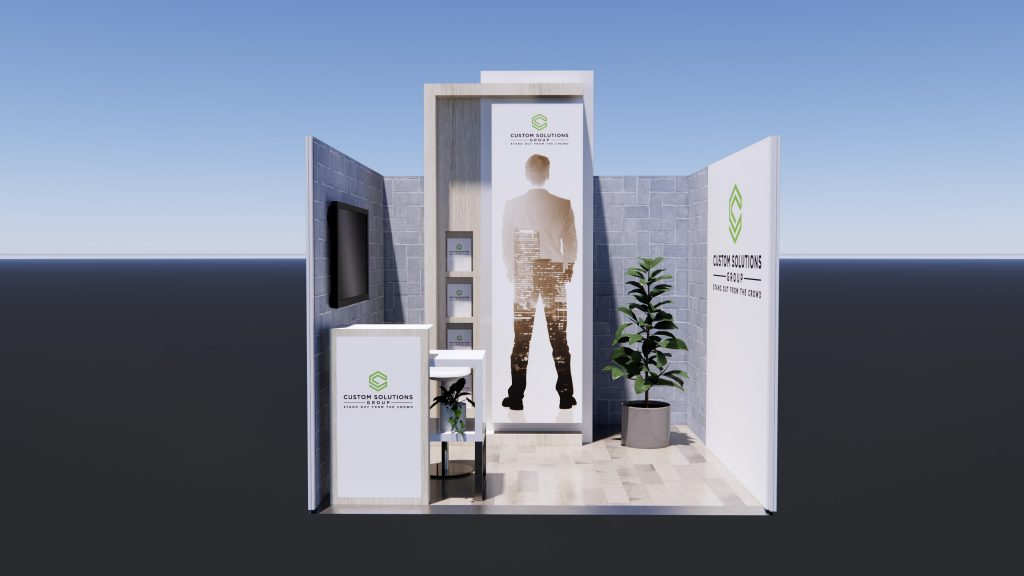3m x 3m Exhibition stand package with natural finishes and branded reception counter