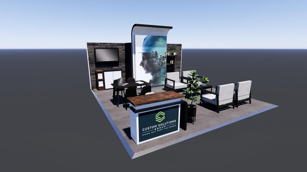 Custom exhibition stand package with inner urban finishes, multiple meeting areas and custom reception counter.