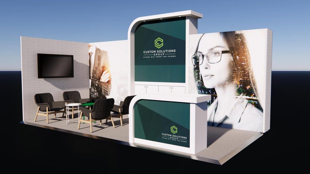 Corner Exhibition stand package with modern finishes, seating area and branded reception counter.